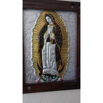 Hermoso Cuadro Repujado Virgen Guadalupe 28x40 Cms Mas Marco