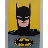 Quadro / Pintura Óleo Sobre Tela Batman 20x30 Cm