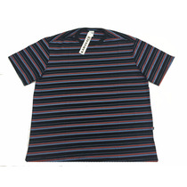 Camiseta Listrada Masculina Plus Size Tamanho Grande P Ao G3