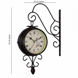 Reloj Doble Vintage, Tipo Bandera Dos Vistas Color Cafe