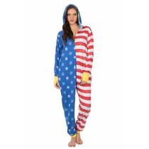 Pijama Mameluco De Bandera Estados Unidos Para Adultos Damas