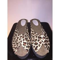 Sandalias Chatitas Zapato De Leopardo Plataforma Goma Nro 37