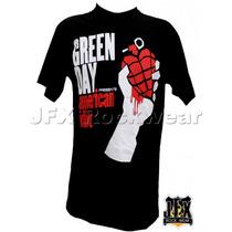 Camiseta De Manga Curta Rock Banda Green Day American Idiot
