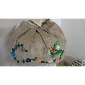 Bolso Cartera Artesanal- Arpillera C/bordados Y Aplicaciones