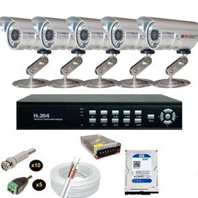 Kit Cftv 8ch 5 Câmeras Infravermelho 1/3 1800l C/ Hd 500gb