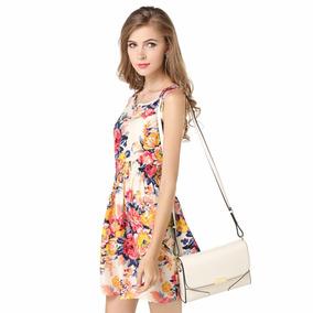 Vestido De Flores Sin Mangas Temporada Verano Otoño
