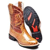 Bota Masulina Texana Couro 8210l Croco Nozes-havana