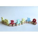 Brinquedo Pedagogico Trenzinho C/ Nome Em Mdf Madeira
