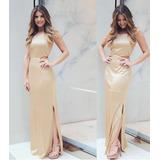 Vestido Longo Plissado Decote Costas Dourado/rose Metalizado
