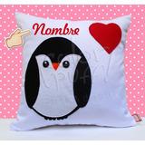Cojin Personalizado Pinguino Enamorado Love Corazón Nombre
