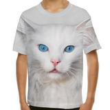 Camiseta Gato Angorá Olhos Azuis Infantil
