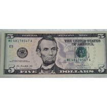 Cédula Nota Cinco (5) Dólares Americanos Flôr De Estampa