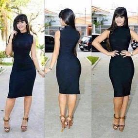 Vestido Midi Clássico Gola Secretaria Moda Top