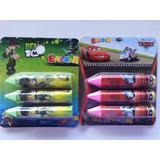 Set De 3 Borras De Ben 10 Y Cars Disney Pixar Para Niños