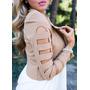 Chaqueta Corta Khaki Fhasion Blazer Casual Jacket Coat Mujer