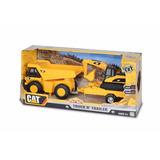 Set Camion Escombros Y Pala Excavadora Cat Original