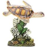 Penn Plax Tortuga De Mar Y Coral En 3,5. Ornamento Del Acua