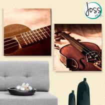 Cuadros Decorativos 2 Pz 40x40 Guitarra Y Violin
