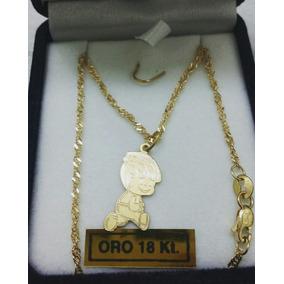 Conjunto Cadena Singapur Dije Nene Oro 18 Kilates