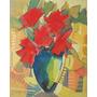 G.gargano, Flores Vermelhas, Óleo Sobre Chapa, 27x22cm,1986