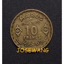 10 Francs, Moneda De Marruecos Del Año Ah1371