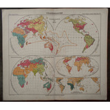 Mapa Mundi Antiguo Grabado Aleman Religiones Razas Año 1906