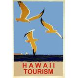 Hawaii Turismo Mar Gaivotas Farol Barco Vintage Poster Repro