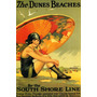 Praia Dunas Garota Sombrinha Chicago Vintage Poster Repro