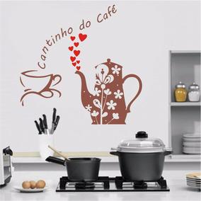 Adesivo Parede Cozinha Cantinho Do Café Xícara Corações