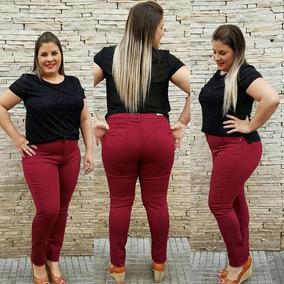 Calça Jeans Plus Size Skinny Vinho Bordô Marsala Moda Grande