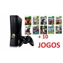 Xbox 360 Slim + 10 Jogos + 1 Controle, Joga Online