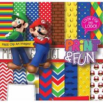 70 Itens Kit Digital Editavel Scrapbook Super Mario