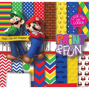 70 Itens Kit Digital Editavel Scrapbook Super Mario