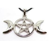 Colar Pingente Triluna Pentagrama Wicca Pingente Com Colar