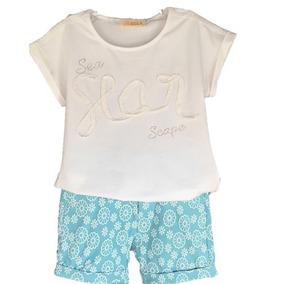 Conjunto Infantil Menina Blusa Renda E Shorts