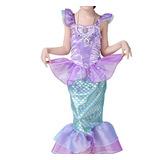 Vestido Infantil Fantasia Princesa A Pequena Sereia Ariel