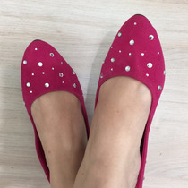 Sapato Camurçado Com Stras (35) - Pronta Entrega No Brasil!