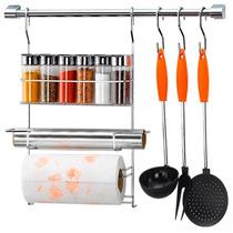Kit Suporte Cozinha Luxo Cook Home Arthi 12 Peças Cromado