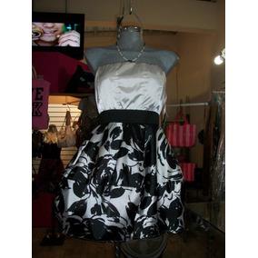Vestido D Fiesta Corto Strapless Nuevo Negro C/blanco M-34