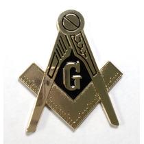 Mason Emblema Auto Coche Masoneria Bronce Antiguo Mesonico