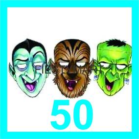 50 Mascaras De Cartón Halloween Disfraz Fiesta Dj Antifaz