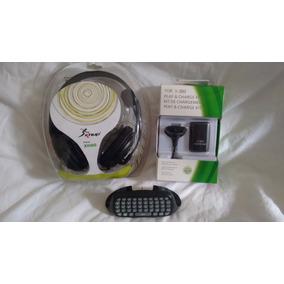 Kit Xbox 360 Teclado Chatpad + Fone Ouvido + 02 Carregadores