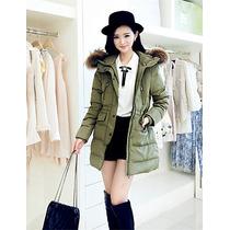 Moda Asiatica, Moda Japonesa, Chamarra Verde Larga Invierno