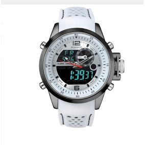Relógio Esportivo Digital De Aço Pulseira De Borracha Branco