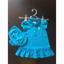 Vestido Infantil Ralph Lauren Azul Tamanho 9 Meses