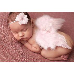 Asa Anjo Rosa Bebê Fantasia Fotografia Estudio Newborn B