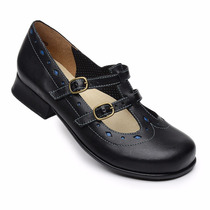 Sapato Boneca Estilo Retro Em Couro Lm 5776