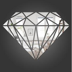 Espelho Decorativo Diamante Quarto Sala 74x53cm