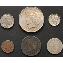 Monedas Eeuu 1909 Indio Bufalo Plata Cobre Antigua Lote J8n