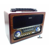 Radio Retro Portátil Fm Am Pen Drive Recarregável Cartão Sd